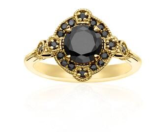 Deco Yellow Gold & Black Diamond Ring - Vintage Wedding