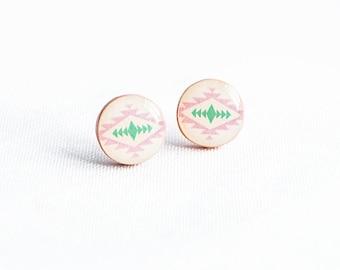 Tribal stud earrings, ethnic jewelry, light pink stud earings