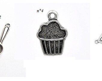 charm individually - pendant silver cake fork knife spoon - cupcake kitchen fork knife spoon charms charms