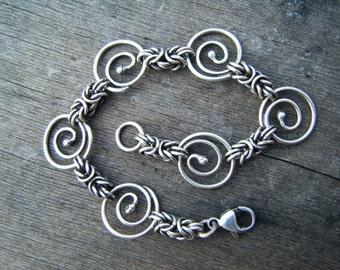 Byzantine Spiral Handmade Sterling Silver Chain Bracelet