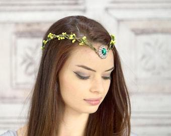 Vigne de Couronne, Berry vert forêt elfique, fée fleur couronne, coiffe Costume, diadème, Woodland, Cosplay casque, Fantasy, jeu de rôle