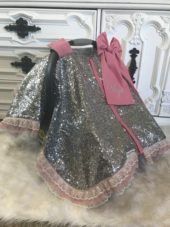 Ready To Ship , Silver sparkle with blush accents , beautiful vintage style lace , car seat canopy comes with jumbo bow and name