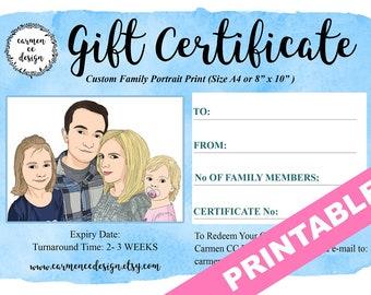 Gift Certificate Custom Portrait, Gift Certificate, Gift Certificate Printable, Custom Portrait, Custom Family Portrait, Gift Card