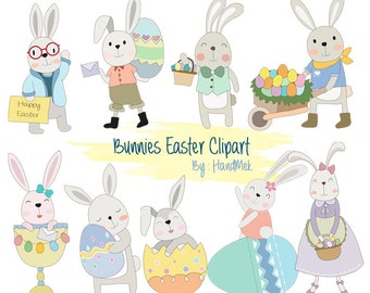 Easter digital clipart ,Easter rabbit clip art , Easter bunny clipart instant download PNG file 300 dpi