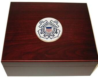 Custom Logo US Coast Guard USCG 50 Cigar Humidor Gift Display