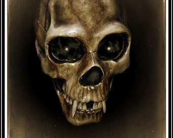 Gothic Horror, vampire, skull, wall art, room decor, dark art, surreal, fantasy, fine art, Giclee archival fine art print.