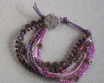"""NEW - Pink and Purple Hibiscus Flower/Leather Bracelet, Floral, Spring, Summer, Hot Pink, Silver, Adjustable for sizes 6"""" to 8"""""""