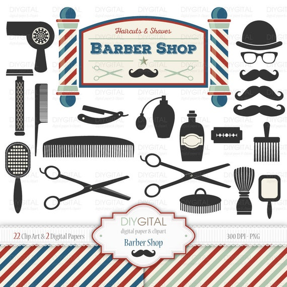 barber shop clip art set 22 printable cliparts 2 digital rh etsy com barbers clipart barber shop clipart black and white