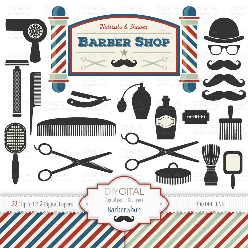 barber shop clip art set 22 printable cliparts 2 digital rh etsy com barber shop clip art free barber shop pole clipart