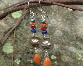 Old coin silver, African Trade Beads and gemstone earrings