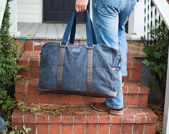 Mens Monogrammed Duffle Bag | Personalized Canvas Weekender | Groomsmen Gift | Large Travel Bag | Valentines Gift for Him | Beau