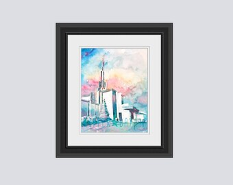 Framed Denver Temple watercolor fine art print, Denver Colorado LDS Temple Watercolor, Fine Art Giclee Print Free Shipping to USA