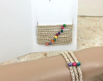 10 Simple Friendship Bracelets Rainbow Hemp Bracelet Wood Bead Anklet Tied Bracelet Jewelry Gift Friends Men Women Teens Braided Bracelet