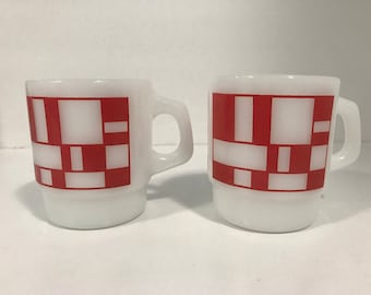 Fire King Anchor Hocking Milk Glass Mugs, Red and White Cups, StylishGlassware, Vintage Coffee Cups
