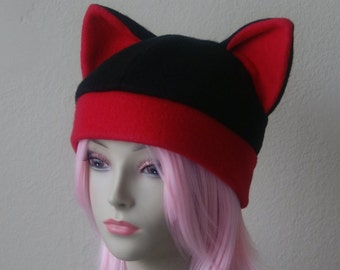 5f4e9cf7a00 Fleece Cat Hat   BLACK + RED Beanie Style Cap Cute Anime Neko Cosplay Cat  Ears
