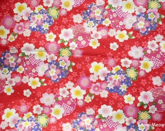"Scrap / Japanese Kimono Fabric - Sakura Cherry Blossoms on Red - 110cm x 57cm(43""W x 22""L) (no20161110)"