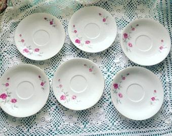 Set of 6 Pink Roses Saucers Ceramic Rose Plates Shabby Chic Roses Plates & Shabby chic plates | Etsy
