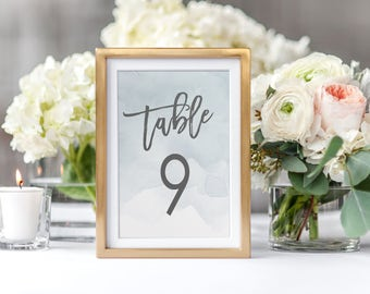 """Dusty Blue Watercolor Wedding Table Numbers 1-25,  4x6"""" AND 5x7"""" - PRINTABLE"""