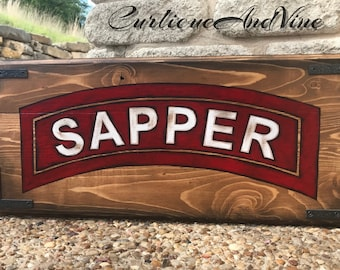 United States-Army-Sapper Tab-Military-Soldier-Wall Art-Rustic Barnwood Decor-Man Cave-Reclaimed Wood-Hand Painted