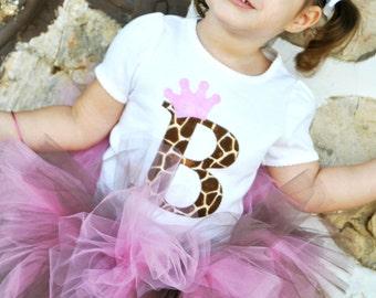 Personalized Pink Giraffe Tutu Set - Giraffe Birthday Girl Baby Toddler Letter Number Princess Shirt