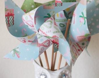 Stocking Stuffer Gift Wrap Pinwheels Retro Christmas Pinwheels 6 Large Pinwheels (Custom orders welcomed)