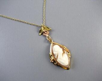 Antique Edwardian shell cameo 14k multi color gold lavalier pendant necklace