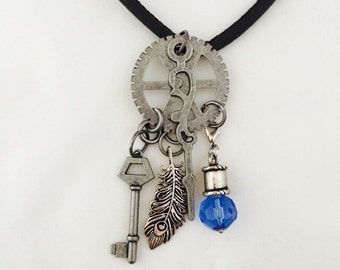 Steampunk Gunmetal Necklace Steampunk Key Feather Necklace Steampunk Gear Key Jewelry Steampunk Leather Cord Necklace