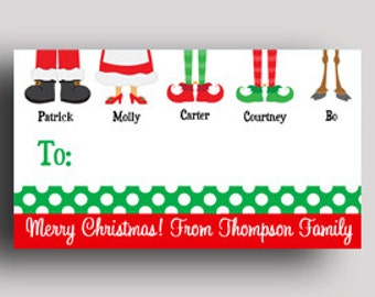 Christmas gift tags etsy personalized christmas gift tags printed or printable labels calling cards treat tag family feet tag negle Gallery