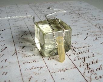 Citrine Quartz Crystal Wand - Enchanted Petite Necklace - quartz point, natural, raw quartz, Quartz necklace, minimal necklace, modern, ooak