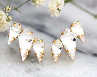 Bridal Crystal Earrings, Bridal Climbing  Earrings, Bridal Swarovski Clear Crystal Cluster Earrings,Swarovski Crystal Cluster Earrings.