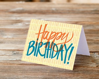 Happy Birthday Fun Lettering hand drawn type candles card for Everyone