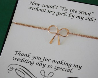 5 Anklets Tie the Knot Bow Rose Gold, Tie the Knot, Bridesmaid Gift, Gold Bow,  Pink Knot Anklet, Thank you card