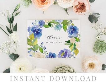 Printable Thank You Card INSTANT DOWNLOAD, Wedding Favor Card, DIY Printable Decorations, Templett, Editable pdf, Blue, Wilde