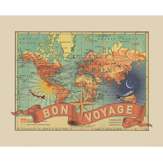 Vintage map art small bon voyage vintage travel world map like this item gumiabroncs Images
