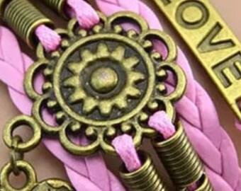 Pink Leather Bronze Charm Bracelet