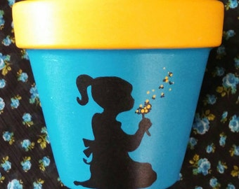 """Hand-painted terracotta pot, Precious Little Girl in silhouette making a wish with a """"blowie"""" flower (7-8 inches) FREE SHIPPING"""