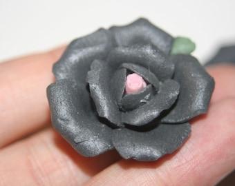 SALE - Large Black Fimo FLower Roses - 3 pcs
