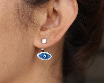 Mood Jewelry / Evil Eye Ear Jacket Earrings - Ear Jacket, Sterling Silver Earrings/Pair