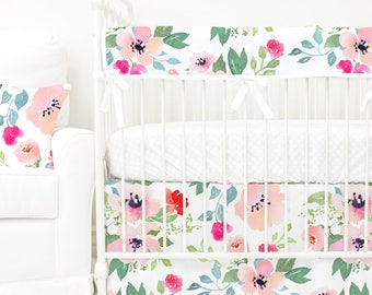 Fairy Tale Floral Bumperless Baby Bedding | Pink, Blush, Peach, Watercolor Floral, Teething Guard Girl Crib Set | Watercolor Floral Nursery