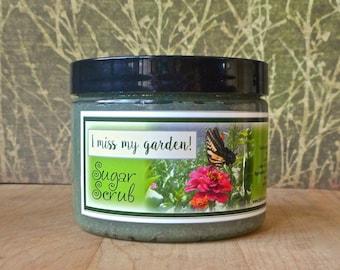 I Miss My Garden! Sugar Scrub 8 oz - Dirt, green grass, snap peas, carnation, and rose leaves.