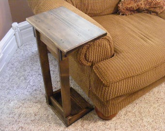 Sofa chair arm rest table stand with shelf and storage pocket rustic sofa arm rest table watchthetrailerfo