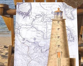 Lighthouse print on nautical map print  lighthouse painting lighthouse art Nautical Decor nautical print Bathroom wall art Living room décor