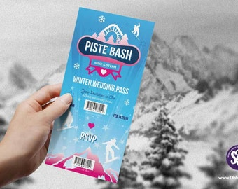 Ski and snowboard piste pass themed wedding Invitation
