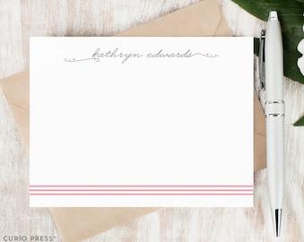 Personalized Notecard Set - TRIPLE STRIPE SCRIPT - Set of Flat Personalized Stationery / Stationary Note Card Set