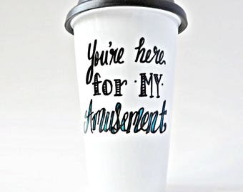Funny Travel Mug, Coffee Mug With Lid, Ceramic, Funny Coffee Mugs for Work, For Teachers, Evil, Revenge, Rude, Mean, Personalized, Insulated