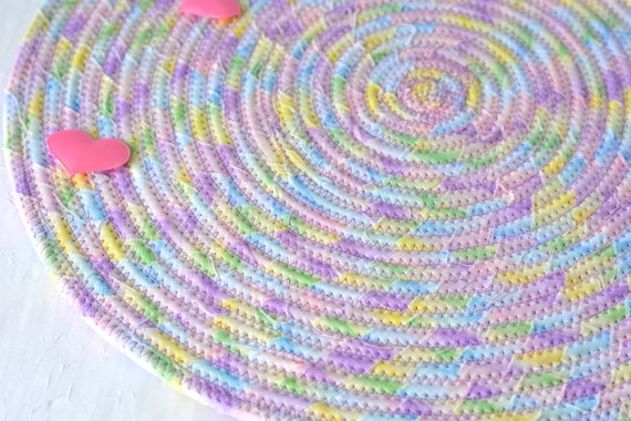 "Violet Place Mat, 12"" Handmade Spring Trivet, Artisan Quilted Table Mat, 12"" Hot Pad, Pastel Rainbow Mug Rug, Patio Home  Decor"