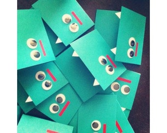 Little monster card,cute monster, funny birthday card, kids birthday card, Eye see You - Green guy from Monsters Inc, Toothy monster card