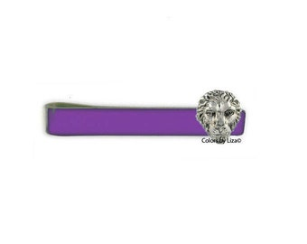 Lion Head Tie Bar Clip Hand Painted Purple Glossy Enamel Classic Tie Bar Accent Assorted Colors and Personalization Available
