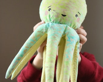 Handmade Soft Plush Stuffed Octopus Animal Green Blue Yellow