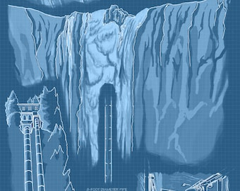 Snoqualmie Falls, Washington - Engineer Drawings (Blueprint) - Lantern Press Artwork (Art Print - Multiple Sizes Available)